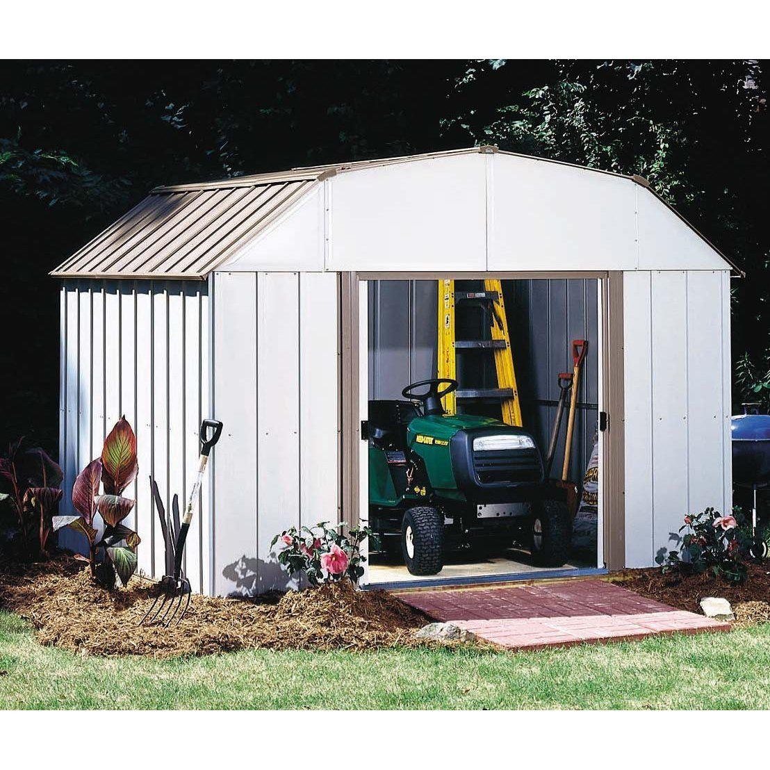 Arrow LX1014-C1 Galvanized High Gable Steel Storage Building, 10 x 14', Eggshell