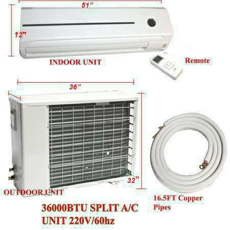 3 Ton 36,000 Btu 16 SEER Ductless Mini split Multi Zone Air Conditioner
