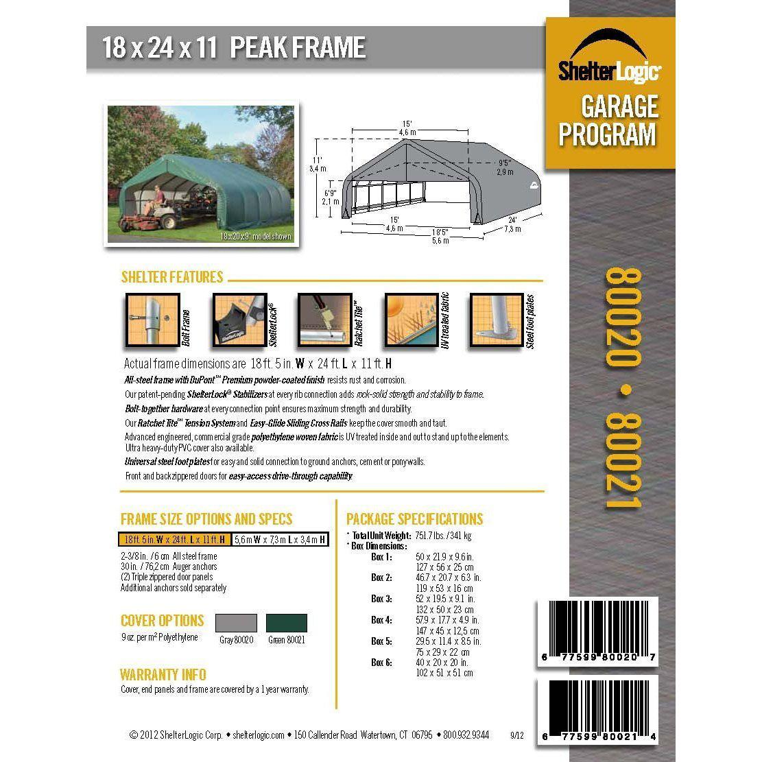 ShelterLogic 80020 Grey 18'x24'x12' Peak Style Shelter