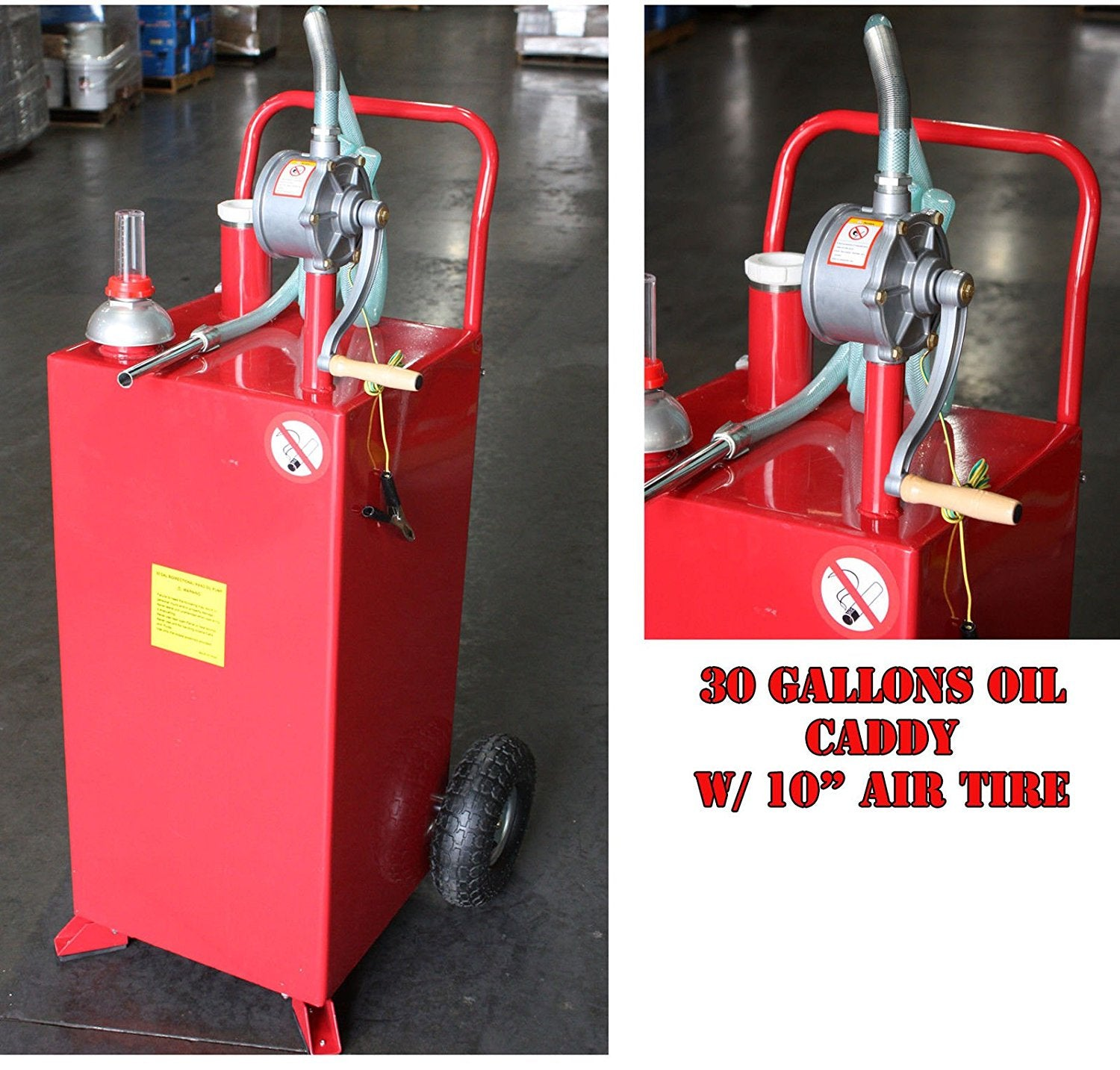 30 Gallon Gas Oil Diesel Fluid Caddy Transfer Tank Bidirectional w/ Rotary Pump