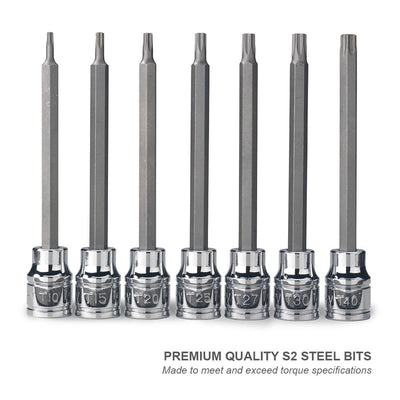 "Extra Long Tamper-Proof Torx Bit 7pc Set 3/8"" Dr. 6pt Star Bit Socket 10062A"