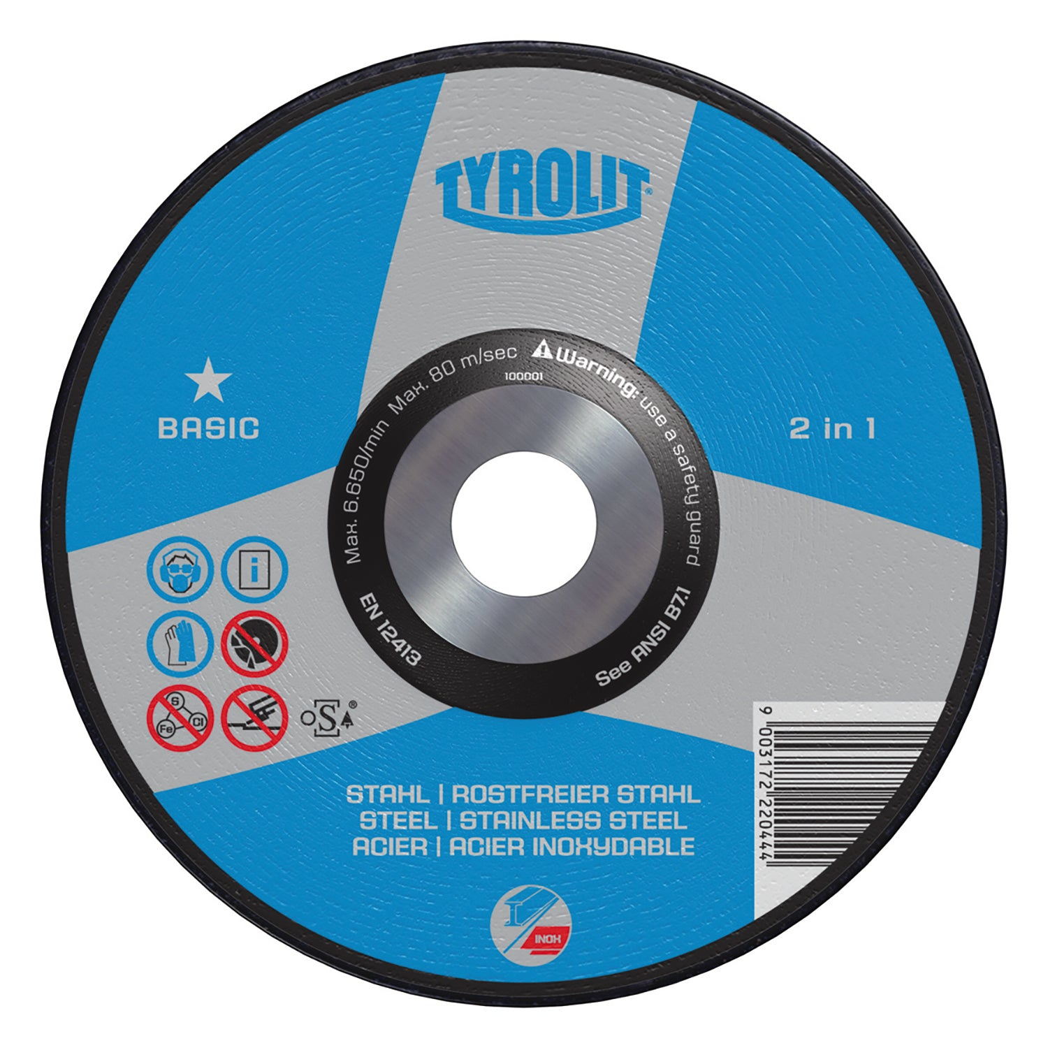 "5PC 4-1/2"" x 1/4"" x 5/8""-11 Tyrolit Abrasives BASIC 2-in-1 Grinding Wheel"