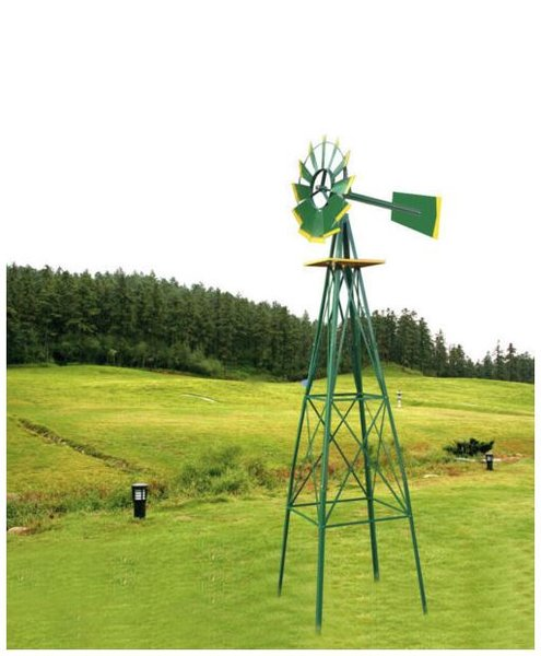 8ft Green Metal Windmill Yard Garden Decoration Weather/ Rust Resistant Wind Mill