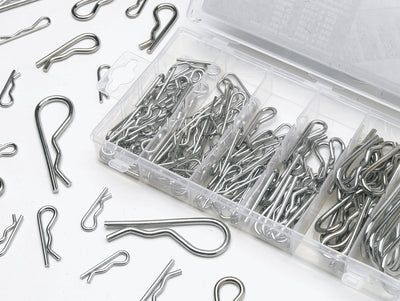Heavy Duty 150pc Galvanized Mechanical Hair Pin Clip Assortment Set 6 Different Sizes