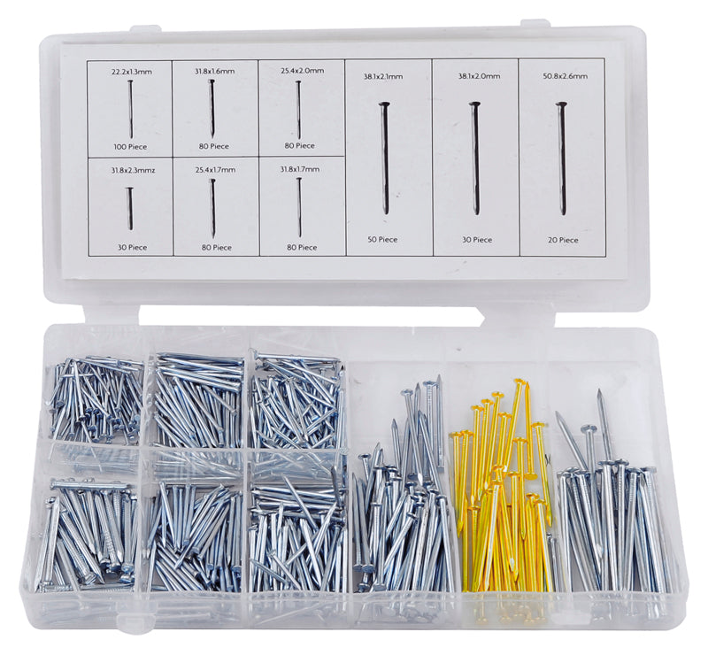 550pc Nail Assortment Set Household Nail Panel Masonry Hanger 9 Sizes Assorted