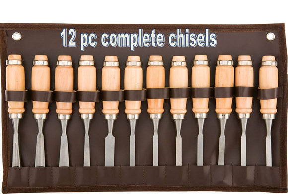 12pc WOOD CARVING CHISEL TOOL SET Wood Handles 7-1/2