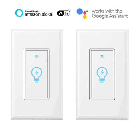 Smart switch, compatible with Amazon Alexa and Google Home IFTTT, built-in wireless WiFi switch in the wall, timing function, suitable for a 1/2/3/4 switch box, neutral wire (White, 2 pcs)