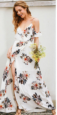 Floral print halter chiffon long dress