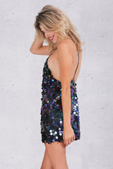 Deep V sequin Backless slip dress