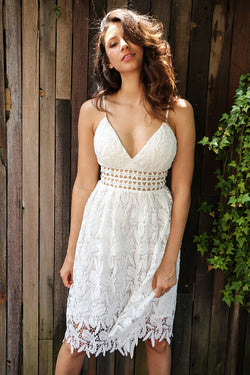 Deep V padded backless white lace dress
