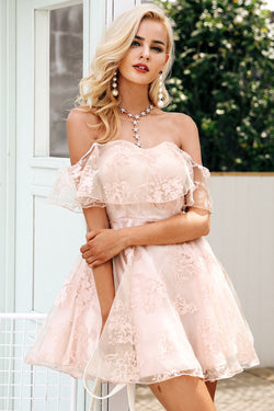Off shoulder flower mesh summer dress