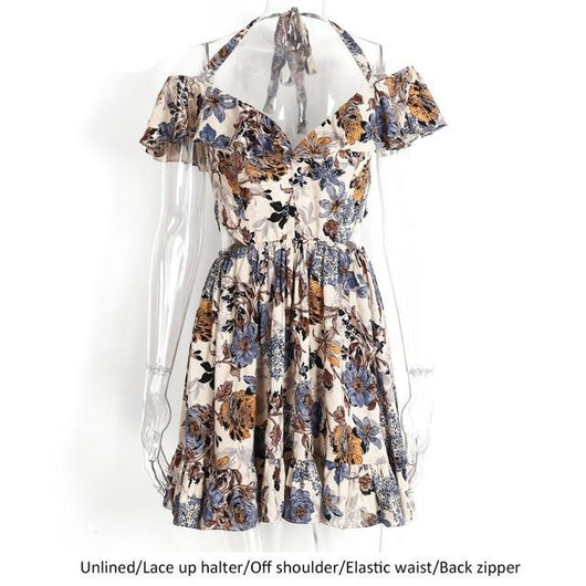 Off shoulder high waist floral print dress