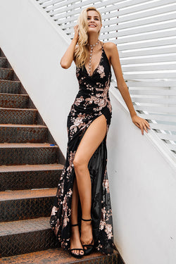 Sexy lace up halter sequin party dress