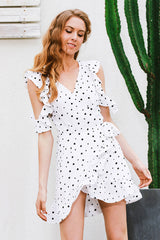 Ruffle cold shoulder polkadot dress