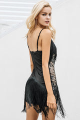 Halter sequined black lace dress