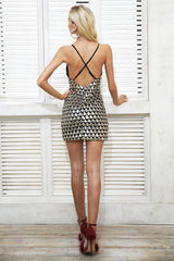 Sexy sequin strap v neck party dress