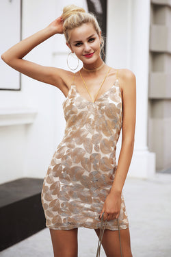 Gold embroidery strap sexy dress