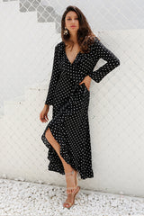 Long sleeve polka dot ruffle wrap dress