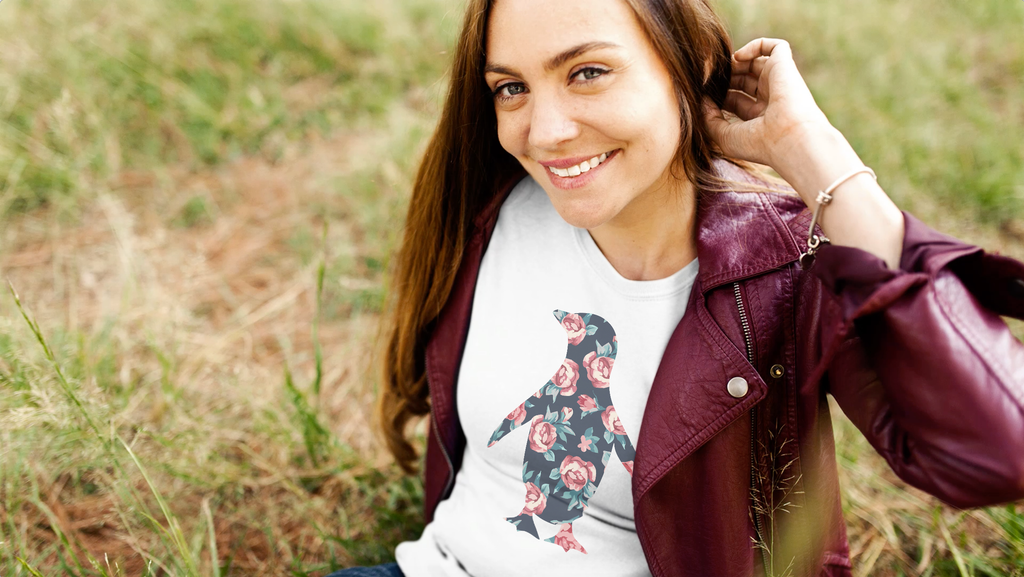 cute girl wearing Adélie Outfitters penguin t-shirt
