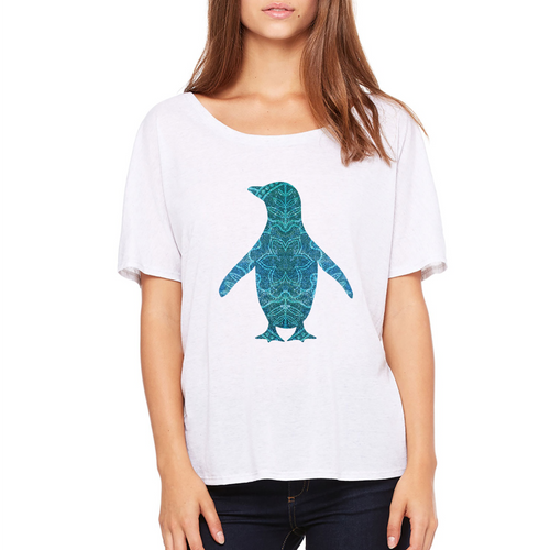 Teal Penguin Slouchy Tee - Adélie Outfitters