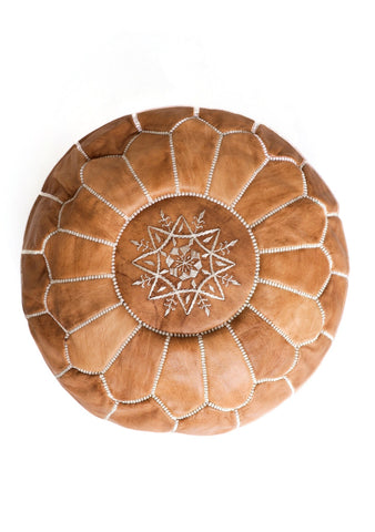 Premium Handmade Moroccan Leather Pouf Ottoman NATURAL TAN