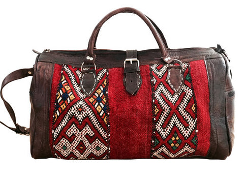 LIMITED EDITION Moroccan Leather Weekender Bag - Red