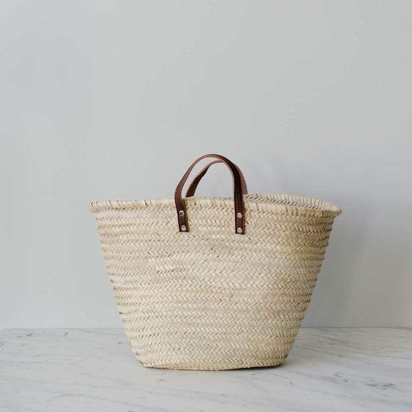Leather Label Souk Basket