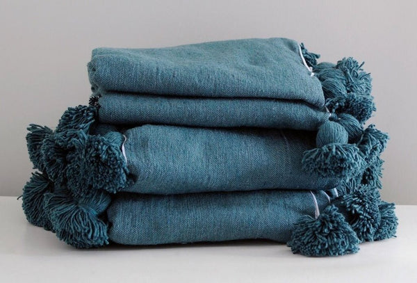 POM POM BLANKET, PERSIAN BLUE