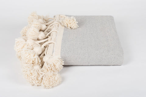 DELUXE LONG TASSEL, POM POM BLANKET, GREY + CREAM WEAVE