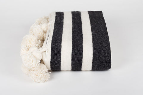 DELUXE LONG TASSEL, POM POM BLANKET, WHITE W/ BLACK STRIPES
