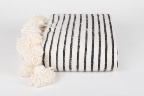DELUXE LONG TASSEL, POM POM BLANKET, WHITE W/ THIN BLACK STRIPES