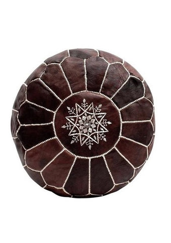 Premium Handmade Moroccan Leather Pouf Ottoman CHOCOLATE