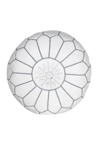 Premium Moroccan Leather Pouf Ottoman Pouffe Genuine WHITE