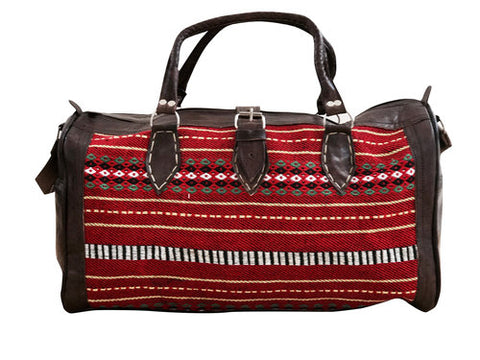 LIMITED EDITION Moroccan Leather Weekender Bag - Red Stripe