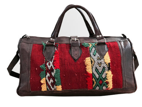 LIMITED EDITION Moroccan Leather Weekender Bag - Red/Yellow/Green
