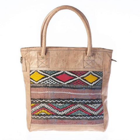 Premium Handmade Moroccan Leather Tote Bag - HADIYA