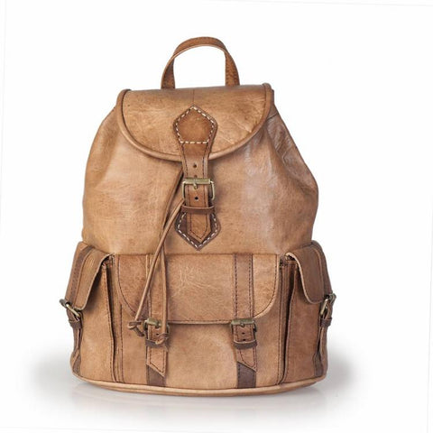 Premium Handmade Moroccan Leather Backpack - BEIGE