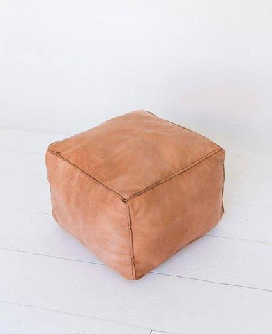 Moroccan Leather Plain Square Pouf - Beige
