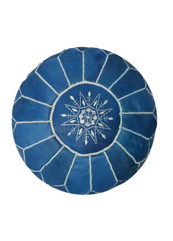 Premium Handmade Moroccan Leather Pouf Ottoman EGYPTIAN BLUE