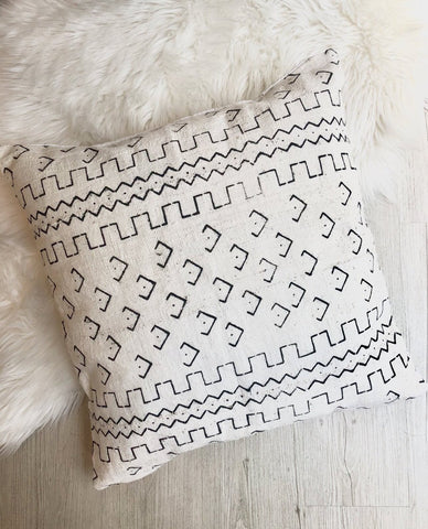 White Boho Mudcloth Pillow