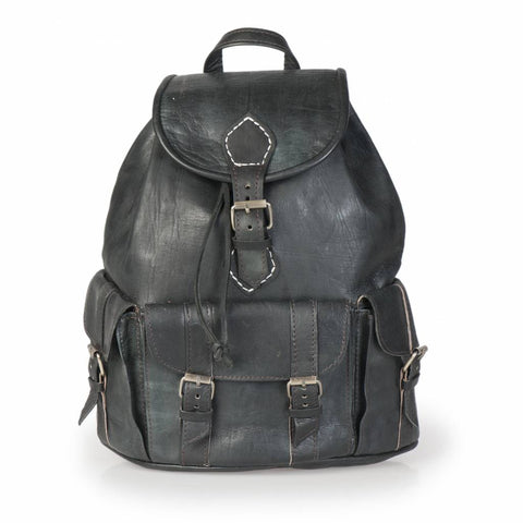 Premium Handmade Moroccan Leather Backpack - BLACK