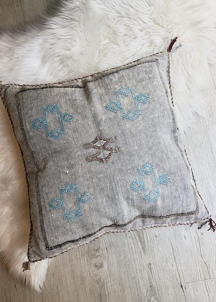 Moroccan Sabra Silk Pillow - Washed Grey