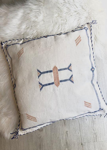 Moroccan Sabra Silk Pillow - White '