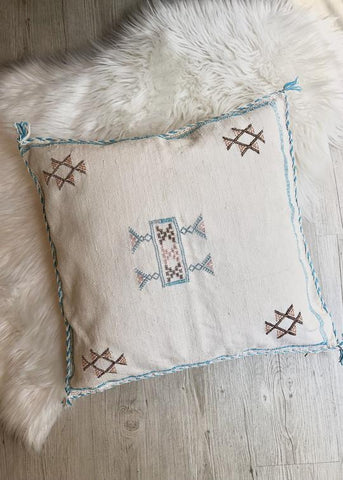 Moroccan Sabra Silk Pillow - White