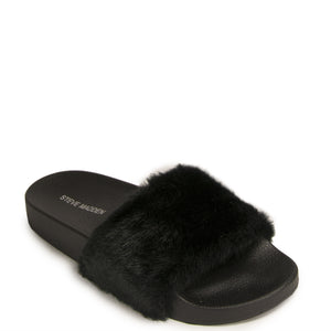 907471264dc Steve Madden Women s Black Softey Faux-fur Slide Sandals Size 8 ...