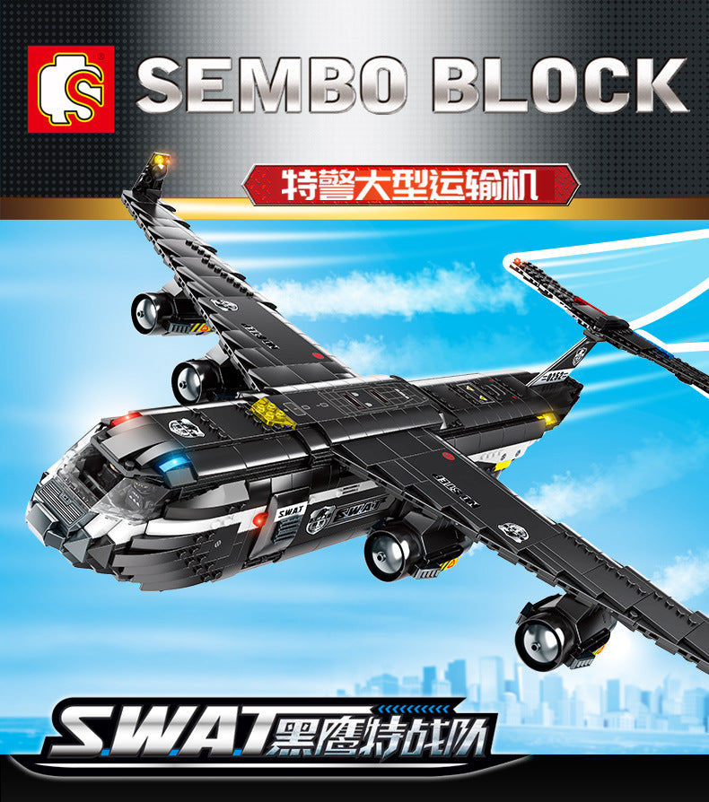 Sembo Block  Black Hawk Transport Aircraft Swat Series | 102527