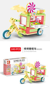Sembo Block Various City Minifigs with Moving Stalls/Stores | 601101-601104, 601105-601108, 601200-601203