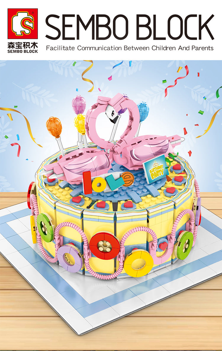 Stupendous Sembo Block Flamingo Birthday Cake 601401 Brickmeupscottie Personalised Birthday Cards Veneteletsinfo