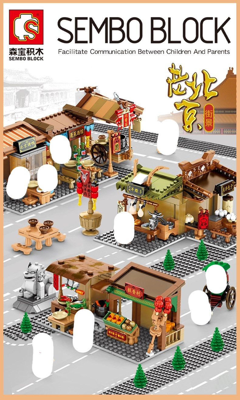 Sembo Block Chinese Old Style Food Stalls | 601600-603