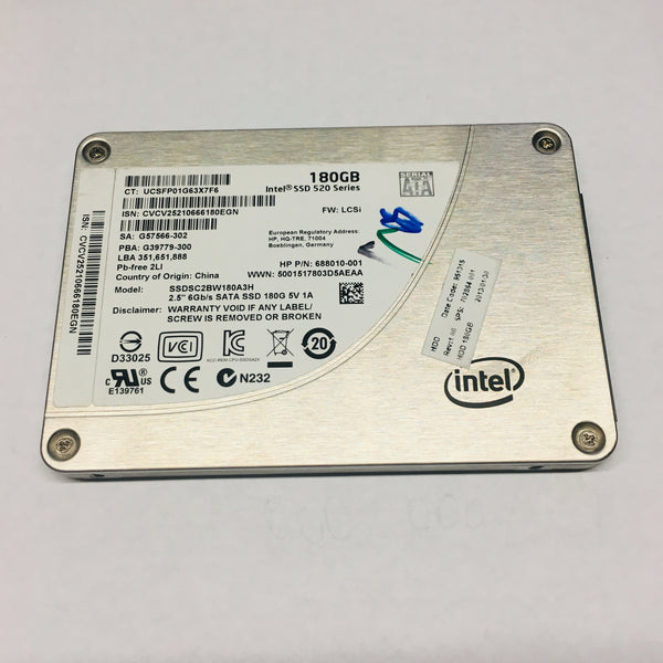 Intel 180GB Laptop Solid State Drive SSD SSDSC2BW180A3H 520 Series 2.5'' SATA 6 Gb/S